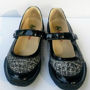 Naturino Black Pat & Leather and Silver Sparkle 32